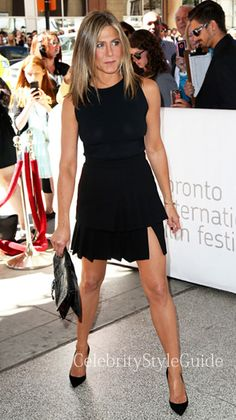 Jennifer Aniston and Emanuel Ungaro Emanuel Ungaro pleated skirt, Christian Louboutin Christian Louboutin So Kate Suede Pump. See the latest Jennifer Aniston style, fashion, beauty, trends, wardrobe and accessories. View ratings and vote on Jennifer Aniston style and fashion.