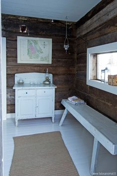 Sauna House, Sauna Room, Cottage Interiors, Cottage Homes, Little Log Cabin, White Cabin, Retro Home, Scandinavian Home, House In The Woods