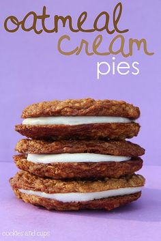 These are BRILLIANT! I skip the cream and spread peanut butter and grape jelly between two cookies instead (think Little Debbie PB Oatmeal Pies). They're phenomenal.