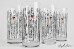Birch Tree Glasses. Available from MaryElizabethArts.com Silkscreen printed. 9.95/each