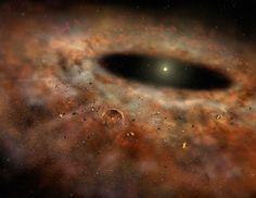 2008 hatte der Stern TYC 8241 2652 1 offenbar noch eine prägnante Staubscheibe (Bild: Gemini Obs., L. Cook)  http://www.pro-physik.de/details/news/2116611/Ploetzlich_verschwunden_Staub_um_einen_jungen_Stern.html
