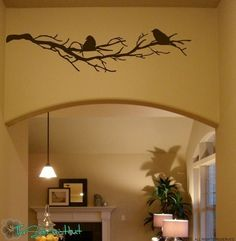 2 Birds on Bare Branches Vinyl Home Decor Wall Art Stickers Decals