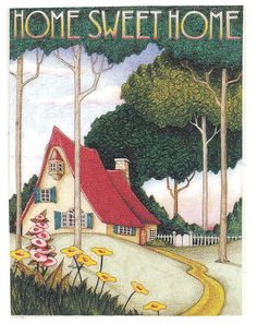 Home Sweet Home Handcrafted Red Roof Cottage Magnet Art by Mary Engelbreit | eBay