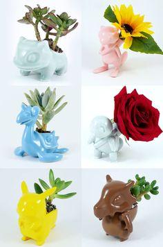 Pokemon Ceramic Planters - New Ideas Pokemon Room, Pokemon Craft, Pokemon Decor, Clay Pokemon, Pokemon Gifts, Pokemon Pokemon, Pikachu, Geek Decor, Deco Floral
