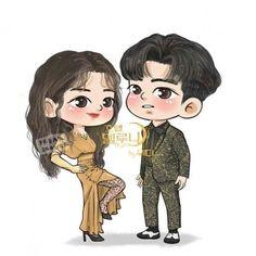 Korean Drama Romance, Korean Drama Movies, Cute Easy Drawings, Cool Art Drawings, Korean Art, Cute Korean, Korea Wallpaper, Cute Couple Art, Fanart