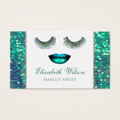 mermaid face faux sequin scale makeup artist business card - makeup artist gifts style stylish unique custom stylist