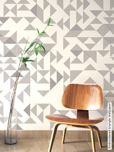 Embroidered triangle Wallpaper by custhom london