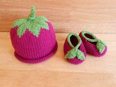 Raspberry Baby Hat and Booties Organic Baby by LemonLaneOrganics