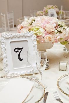 Timeless +  Elegant centerpiece and table number ~ Ben Elsass Photography | bellethemagazine.com