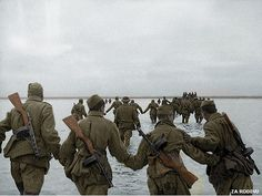 Soviet soldiers cross a river ww2 | by Za Rodinu