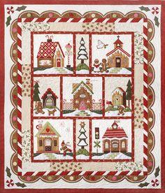 Patronen, boeken, tijdschriften :: Patronen :: The Quilt Company :: Snow Globe Village :: Ginger Bread Village, komplete set van 7 patronen - Rinske Stevens Design