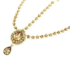 Antique Gold Pendant Kundan Stone Indian Matha Patti Headpiece Head Chain Tikka Bridal