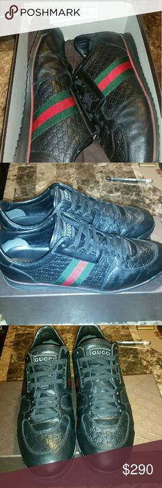 Authentic Gucci men's leather upper shoes. Authentic Gucci leather upper men's shoes.  In pristine condition.  Black with signature Gucci green and red stripes.  Comes with original box, dust bag, and extra lace. Runs truer to size 13. Gucci Shoes Sneakers
