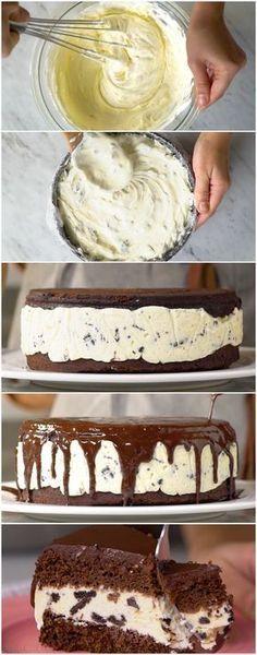 Depois que aprendi a receita dessa Torta de Sorvete eu nunca mais deixei de fazer. É MUITO fácil e deliciosa demais! ( veja a receita passo a passo ) #torta #tortagelada #tortadesorvete #sobremesa #tastemade