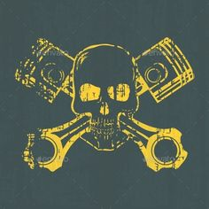 Skull and Pistons - Tattoos Vectors                                                                                                                                                                                 More