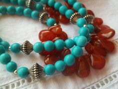 Boho Chic Turquoise and Carnelian Southwest Flavor by DoveBlanco