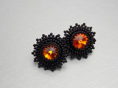 Stud earrings, Bead embroidery,  Earring, Seed bead jewelry, Trending jewelry, Fashion earring, Embroidery jewelry, Swarovski,  Black by vicus. Explore more products on http://vicus.etsy.com