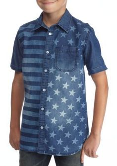 Hollywood The Jean People Blue Flag Print Chambray Button-Front Shirt Boys 8-20