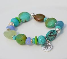 Turquoise and river rock with sterling