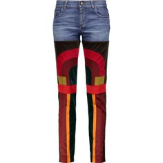 TOM FORD Patchwork velvet and satin-paneled mid-rise slim-leg jeans ($840) ❤ liked on Polyvore featuring jeans, pants, multi, tom ford, blue jeans, button-fly jeans, slim cut jeans and medium rise jeans