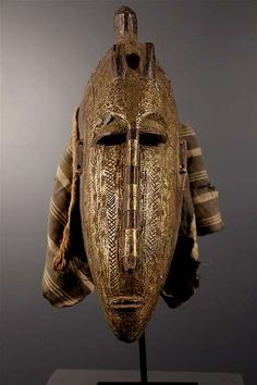 Janus mask from the Markha people of Mali - wood and metal