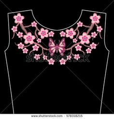 Embroidery stitches with spring Sakura flowers, branch of Japanese cherry blossoms. Neckline for fashion fabric, textile floral print.