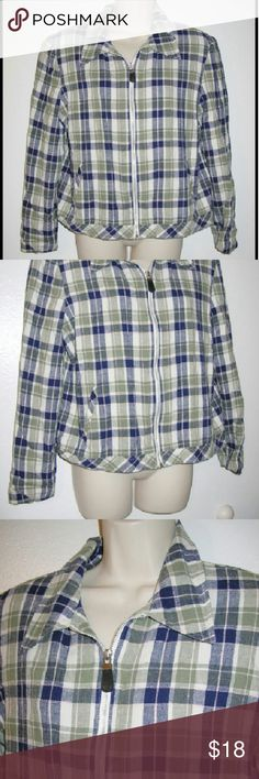 """Tofy linen rayon plaid zip jacket 14 Guatemala Fully lined Fabric is a linen and rayon blend with the look of linen, yet softer Bust 42"""" Shoulder to shoulder 17"""" Sleeve 22"""" Tofy Jackets & Coats Blazers"""