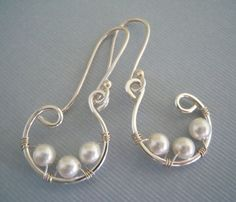 wire wrapped hoop earrings | Pearl Wire Wrapped Hoop Earrings by preservejewelry on Etsy, $20.00