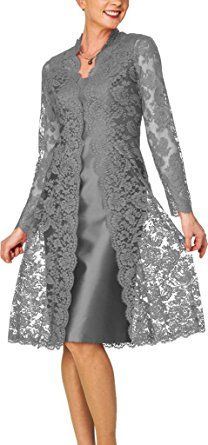 H.S.D Women's Short Mother of the Bride Dress with Lace Bolero Silver Grey