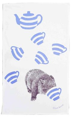 cuppa wombat - tea towel from Jane Burrell Design, gifts inspired by Tasmania Lino Art, Australian Animals, Tea Art, Pattern Illustration, Drinking Tea, Tea Towels, Pet Birds, Pattern Design, Drawings