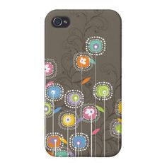 Colorful Abstract Retro Flowers Brown Background iPhone 4/4S Covers created by artOnWear