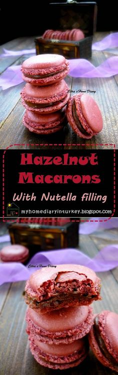 Toasted Hazelnut Macarons With Nutella Filling. #hazelnutmacarons #hazelnut #macarons #nutellabuttercream #cookies #dessert