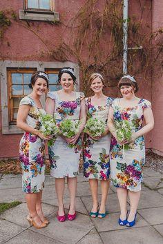 Colourful floral bridesmaids
