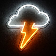 cloud and lightning neon sign