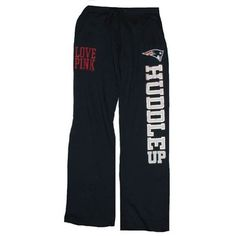 Official New England Patriots ProShop - Ladies PINK Boyfriend Pants-Navy - So cute but a little pricey for sweatpants.