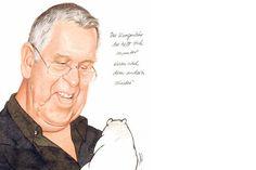 Robert Gernhardt und sein Kragenbär: eine Zeichnung von Stern-Zeichner Gerhard Haderer.