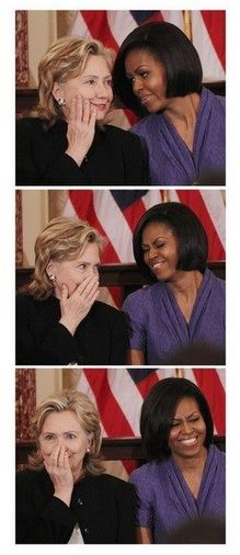 Hillary and Michelle telling secrets :)