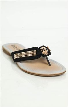 Deb Shops #sandal with stone straps and #metal #skull accent $12.99