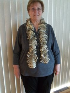 Knit Frilly Lacy Scarf in Golden Yellows and by TheNeedleHouse, $20.00