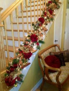 christmas staircase garland replace red with silver