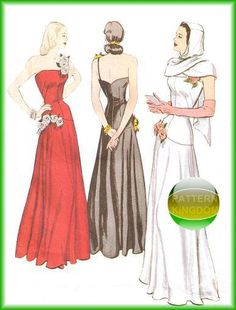 Butterick 6408 1948 Vintage Gown & Hooded Scarf Retro Dress Patterns
