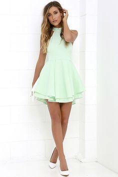 Dress Rehearsal Mint Green Skater Dress at Lulus.com!