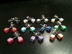 Dice Earrings  Geek & Nerd Gamers Accessory Opaque by RhoxButtons, $3.00