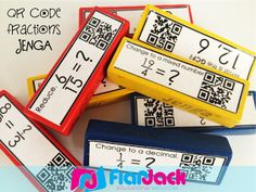Classroom Freebies: QR Code Fractions Jenga  Could adapt for a library skill