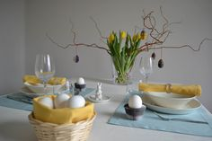 BLOG   Eastertable 2016 - soft and cheerful   The base is a tablecloth or table runner in a classic Easter colour like turquoise, yellow, cream white or pastel.