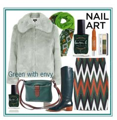Green with envy - nail art by amisha73 on Polyvore featuring uroda, Trish McEvoy, Clinique, Lauren B. Beauty, Topshop and Candela
