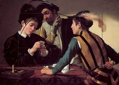 The Cardsharps, ca. 1594, Michelangelo Merisi da Caravaggio. By having two of the three people in the painting looking at the third, your eye is drawn to the third person. The dark stripes on the person in the foreground point draw your eye up into the fibonacci spiral, and down to the cards he has behind his back.