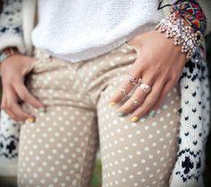 creme polka dot pants
