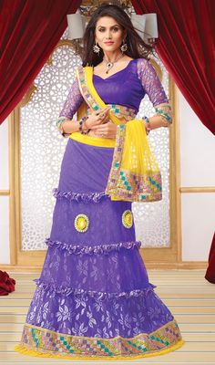 Deep Purple Jacquard and Net Lehenga Choli Price: Usa Dollar $155, British UK Pound £91, Euro114, Canada CA$167 , Indian Rs8370.