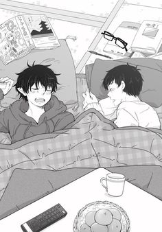 Blue Exorcist ~~ Sleeping under the kotatsu :: Okumura twins THEY ARE SO ADORABLE